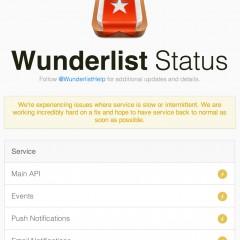 Wunderlistのサービス状況を確認できるページ